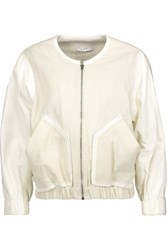 Iro Miles Leather Trimmed Cotton Blend Jacket Cream