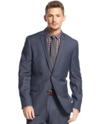 Bar Iii Carnaby Collection Slim Fit Mid Blue Texture Jacket