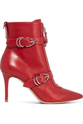 Gianvito Rossi 85 Buckle Detailed Leather Ankle Boots Red