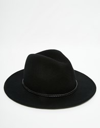 Gregorys Gregory's Wide Brim Fedora Hat With Belted Trim Black