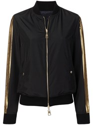 Versace Collection Black And Gold Bomber Jacket