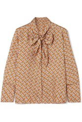 Burberry Pussy Bow Printed Mulberry Silk Twill Blouse Orange