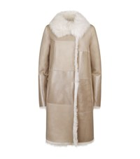 Escada Sport Reversible Patent Panel Shearling Coat Female Beige