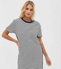 Esprit Stripe Jersey T Shirt Dress In White And Navy Multi