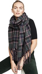 Franco Ferrari Double Faced Plaid Scarf Pink
