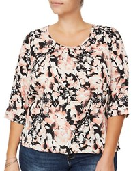 Junarose Wresta Three Quarter Sleeve Floral Printed Blouse Black Pink