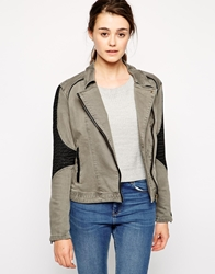 Blank Nyc Twill And Faux Leather Jacket Greyblack