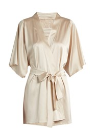 Fleur Of England Golden Hour Lace Insert Silk Blend Robe Light Pink