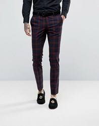 Noose And Monkey Super Skinny Suit Trousers In Check Burgundy Red
