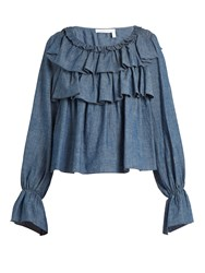 See By Chloe Ruffle Trimmed Cotton Blend Chambray Top Blue