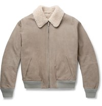 Berluti Lizard And Shearling Trimmed Leather Bomber Jacket Light Gray