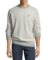 Billy Reid Tommy Crewneck Sweatshirt With Elbow Patches Gray