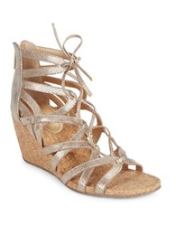 Kenneth Cole Reaction Cake Pop Caged Wedge Sandals Gold