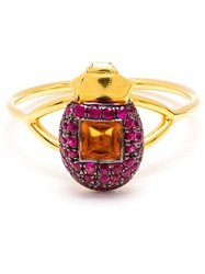Daniela Villegas 18Kt Pink Gold Citrine And Ruby 'Ma'at' Ring