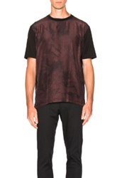 Lanvin Silk Front Flowers Tee In Red Black Red Black
