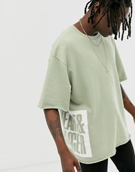 Heart And Dagger Short Sleeve Sweat With Raw Hem Green