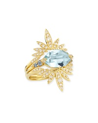 Alexis Bittar Fine 3 In 1 Convertible London Blue Topaz And Diamond Ring