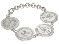 Gucci 4 Charm Coin Bracelet Silver