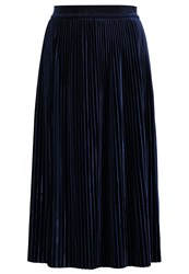 Vila Vivelvetine Pleated Skirt Total Eclipse Dark Blue