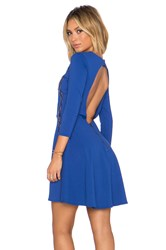 David Lerner X Chiqui Delgado Lace Inset Dress Blue
