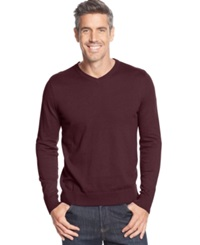 John Ashford Big And Tall Solid Long Sleeve V Neck Sweater Red Plum
