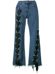 Marques Almeida Marques'almeida Lace Up Wide Leg Jeans Women Cotton 12 Blue