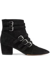 Tabitha Simmons Christy Buckled Suede Ankle Boots Black