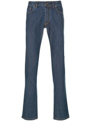 Brioni Straight Jeans Cotton Leather Polyester Spandex Elastane Blue