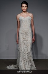 Women's Anna Maier Couture 'Lyon' Strapless Lace Column Gown In Stores Only