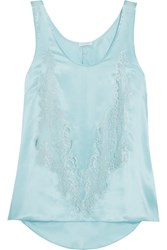 Rosamosario Cosmic Love Chantilly Lace Paneled Silk Satin Camisole Sky Blue