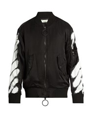 Off White Spray Print Bomber Jacket Black Multi