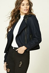Forever 21 Wool Blend Biker Jacket Navy