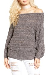 Leith Women's Off The Shoulder Sweater Grey Rabbit