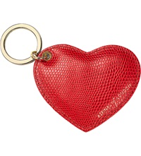 Aspinal Of London Lizard Print Leather Heart Key Ring Berry