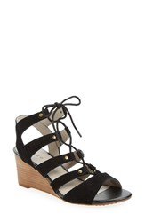 Hinge Women's 'Basin' Ghillie Lace Wedge Sandal Black Suede
