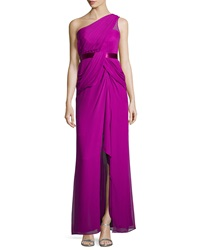 Notte By Marchesa Pleated One Shoulder Gown Violet