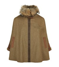 Holland Cooper Tweed And Fur Cape Female Brown