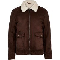 River Island Mens Dark Brown Faux Suede Jacket