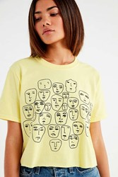 Urban Outfitters Uo Faces Sketch Cropped Tee Yellow
