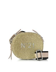 N 21 Silver And Gold Glitter Oval Crossbody Bag W Metallic Embossed Logo