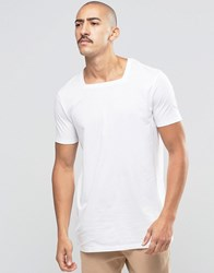 Asos Longline T Shirt With Square Neck In White White