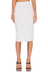 Lucca Couture Pinstripe Pencil Skirt White
