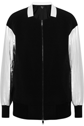 Dkny Metallic Leather Sleeved Stretch Twill Bomber Jacket Black