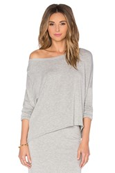 Beautiful People Off The Shoulder Long Sleeve Pullover Gray