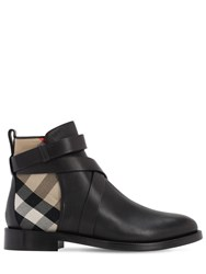 Burberry 30Mm Pryle Leather And Check Ankle Boots Black