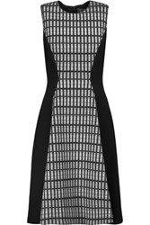 Lela Rose Printed Wool Blend Paneled Crepe Dress Black
