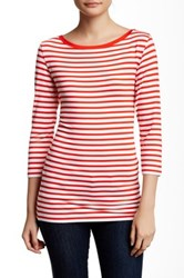 14Th And Union 3 4 Length Sleeve Boatneck Striped Tee Red