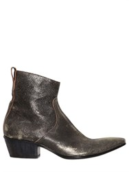 Haider Ackermann Gold Sprayed Leather Cowboy Boots