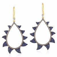 Meghna Jewels Claw Earrings Neg Space Blue Sapphire And Diamonds