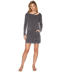 Allen Allen Long Sleeve Cut Neck Crew Dress Black